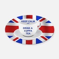 Keep Calm and Drink a Cuppa Tea Oval Car Magnet