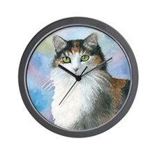 Cat 572 Calico Wall Clock