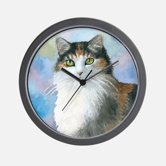 Cat 572 Calico Wall Clock