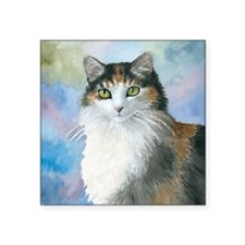 "Cat 572 Calico Square Sticker 3"" x 3"""