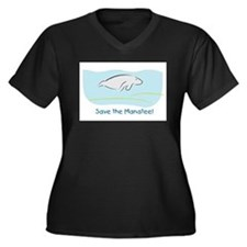 Save the Manatee! Women's Plus Size V-Neck Dark T-