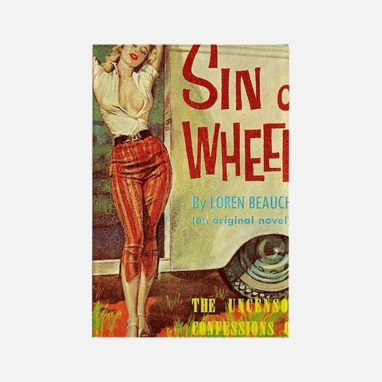Sin On Wheels Rectangle Magnet