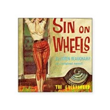 "Sin On Wheels Square Sticker 3"" x 3"""