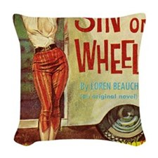 Sin On Wheels Woven Throw Pillow