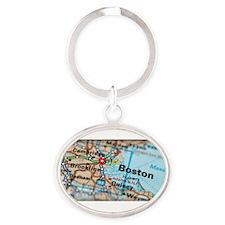 Boston Map Oval Keychain