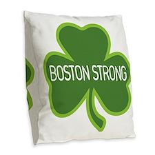 Boston Strong Shamrock Burlap Throw Pillow