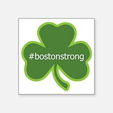 "#bostonstrong shamrock Square Sticker 3"" x 3"""