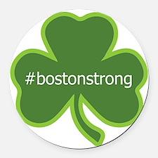 #bostonstrong shamrock Round Car Magnet
