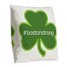 #bostonstrong shamrock Burlap Throw Pillow
