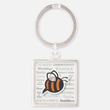 Buzzle Bee with site descriptors Square Keychain
