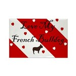 Love My French Bulldog-Red Rectangle Magnet