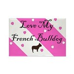 Love My French Bulldog-Pink Rectangle Magnet