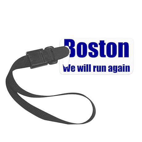 Boston: We will run again - blue Small Luggage Tag
