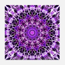 Fly Away Purple mandala Tile Coaster