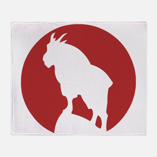Great Northern Goat Red Throw Blanket