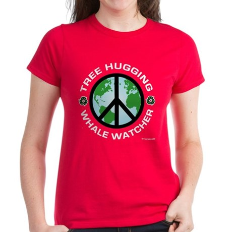Tree Hugging, Whale Watcher Women's Dark T-Shirt