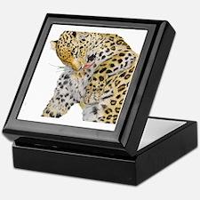 Leopard white background Keepsake Box