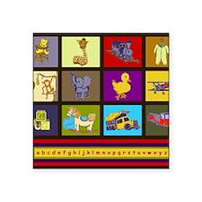 "Baby Boy ABC Animal Toy Blo Square Sticker 3"" x 3"""