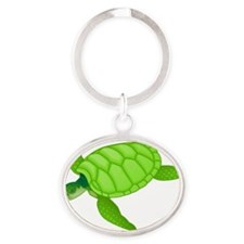 GREEN TURTLE HATCHLING Oval Keychain