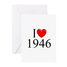 """""""I Love 1946"""" Greeting Cards (Pk of 10)"""