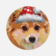 Santa Corgi Round Ornament