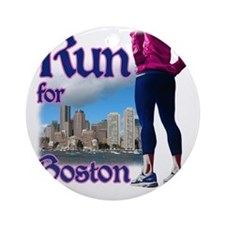 Run for Boston, MA Round Ornament