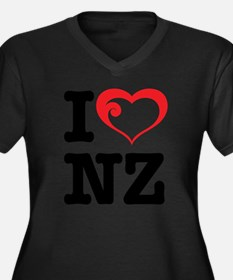 I love NZ Women's Plus Size Dark V-Neck T-Shirt