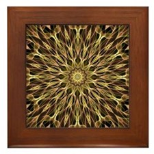 Gold and Copper Mandala Framed Tile