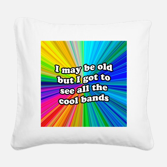 FIN-old-cool-bands-12x12 Square Canvas Pillow