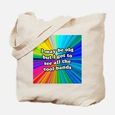 FIN-old-cool-bands-12x12 Tote Bag