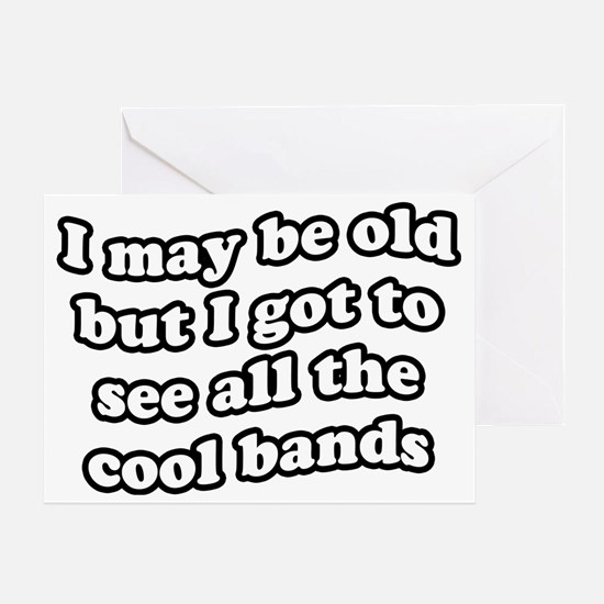 FIN-old-cool-bands-TEXTONLY Greeting Card