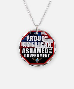 Proud USA Ashamed Government Necklace Circle Charm