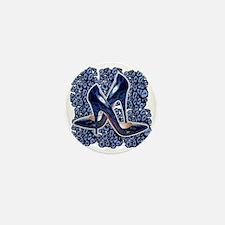 Blue Leopard Stilettos Mini Button