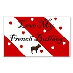 Love My French Bulldog-Red Rectangle Sticker