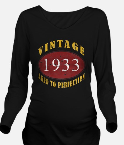 1933 Vintage (Red) Long Sleeve Maternity T-Shirt