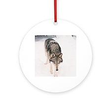"""Lone  Wolf"" Round Ornament"