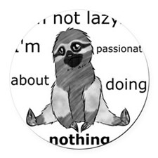 Lazy sloth Round Car Magnet