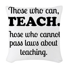 TEACHERS Woven Throw Pillow