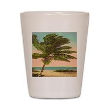 Vintage Sanibel Palm Tree Postcard Shot Glass
