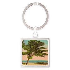 Vintage Sanibel Palm Tree Postcard Square Keychain