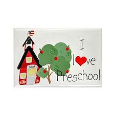 I Love Preschool Rectangle Magnet