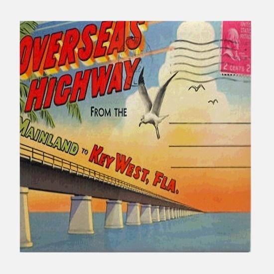 Vintage Key West Florida Postcard Tile Coaster