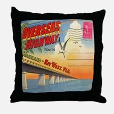 Vintage Key West Florida Postcard Throw Pillow