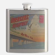 Vintage Key West Florida Postcard Flask