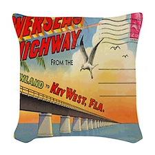 Vintage Key West Florida Postc Woven Throw Pillow