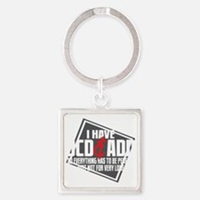 I Have OCD and ADD blk Square Keychain