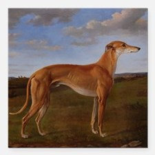 "Vintage Greyhound Painti Square Car Magnet 3"" x 3"""