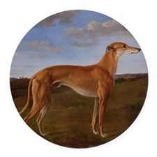 Vintage Greyhound Painting Round Car Magnet