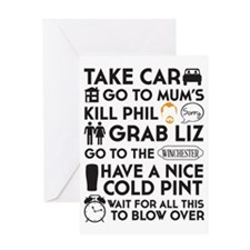 SHAUN OF THE DEAD THE PLAN BLACK 3 Greeting Card