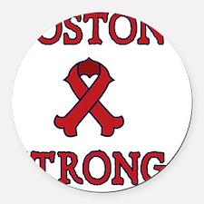 Boston Strong Ribbon Round Car Magnet